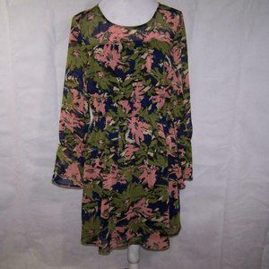 Le Lis Dress L Chiffon Overlay Floral Bell Sleeves